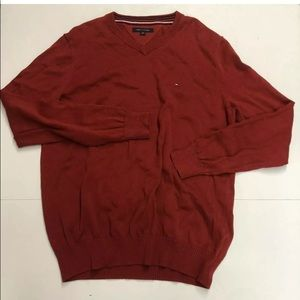 Tommy Hilfiger Mens Sweater Sz large Red Pullover